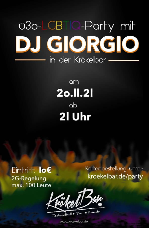 You are currently viewing Ü30-LGBTIQ-Party mit DJ GIORGIO